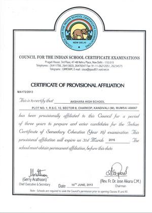 Prov. Affiliation Certificate-